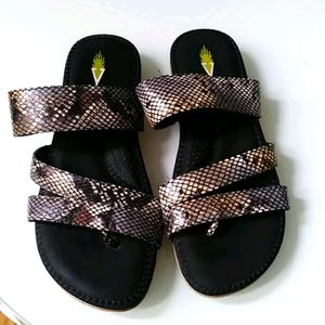 Volatile Snake Skin Throng Strappy Sandals